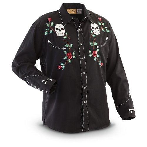 scully-mens-skull-and-roses-embroidered-retro-western-shirt-black-x-large