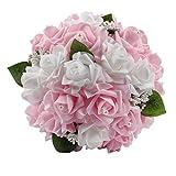 Amazon.co.jpOurwarm® ウェディングブーケ ブライダルフラワー 約23x26cm 結婚式 花嫁 披露宴 バラ 花束 (Pink)
