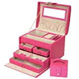 Paylak TS395PINK Pink Leather Large Jewelry Box with Rhinestone Buckle and Travel Case
