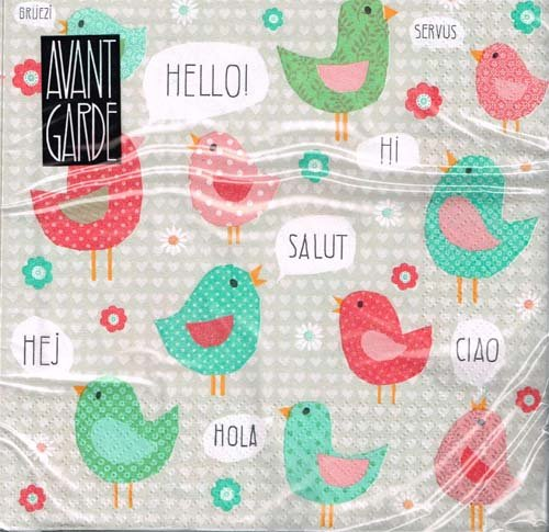 Avant Garde - Servietten - Hello Birds / türkis - 15103 - Vögel / Servus / Hola