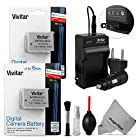 (2 Pack) NB-10L Battery and Charger Kit for CANON PowerShot SX50 HS, SX40 HS, G1X, G16, G15 (Canon NB-10L Replacement) - Includes: 2 Vivitar Ultra High Capacity Rechargeable 1300mAh Li-ion Batteries + AC/DC Vivitar Rapid Travel Charger + Cleaning Kit + MagicFiber Microfiber Lens Cleaning Cloth