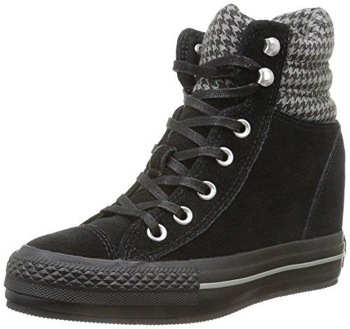 Converse, A/S Hi Platform Plus Collar Su Sneaker,Donna, Nero (Black/Houndstooth), 37