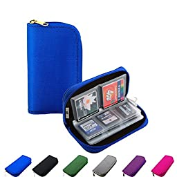 Litop® Memory Card Carrying Case Holder Pouch Bag 8 Pages and 22 Slots for SDHC SD Cards MMC CF Micro SD Storage Protector (Blue)