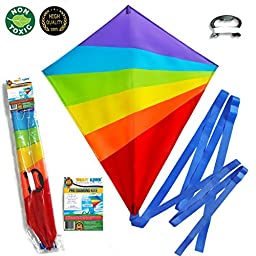 Large Kite (Sale Out: Last 100 Kites) Flying Kites Kit for Kids with String Handle - Fly Big Easy Diamond Rainbow High Flyer -Free Extra Gift (Ebook) - Beach Summer Runner Toy for Children Travel Size