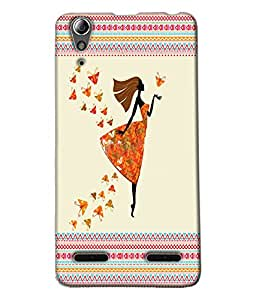 Fuson Butterfly Pattern Girl Back Case Cover for LENOVO A6000 - D3902