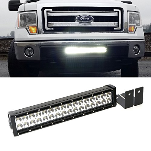 iJDMTOY Complete Lower Bumper Grill Mount High Power LED Light Bar w/ Mounting Bracket, Wiring Harness & Switch For 2009-2014 Ford F-150, 2010-2014 Ford SVT Raptor (No Cutting, No Drilling) (Ford Tremor Accessories compare prices)