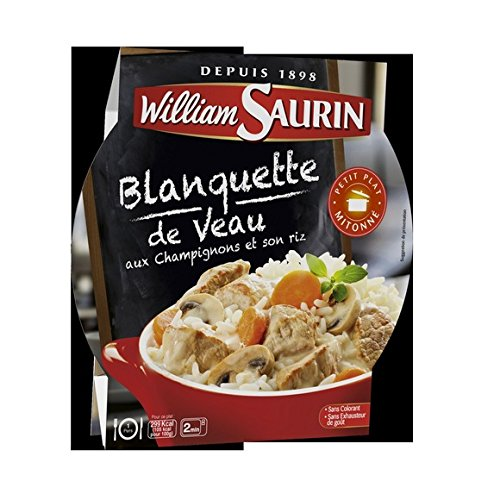 William Saurin - L'assiette du jour - Blanquette de veau aux champignons et son riz - L'assiette micro-ondable de 285g - (pour la quantité plus que 1 nous vous remboursons le port supplémentaire)