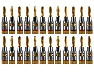 Ocelot Banana Plugs, 24k Gold Plated Connectors, Open Screw Type, 12 Pair