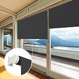 casa pura® Verdunkelungsrollo - lichtundurchlässig - für breite Fenster in fünf Größen | Schwarz | 140x230cm