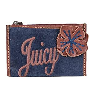 Juicy Couture Velour Flower Floral Mini Skinny Coin Case w Keychain Navy Pink