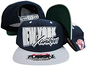 New York Yankees Navy Grey Fusion Angler Snapback Hat Cap by American Needle