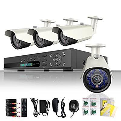 ELEC 8Ch Channel 960H HDMI CCTV DVR Realtime CCTV Network H.264 Security Home Surveillance System With 4 Bullet 800TVL Outdoor Cameras Free E-cloud CVK-SR08C6-4 (No Hard Drive)