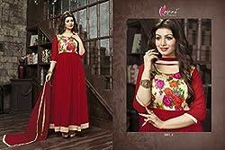 JJR Store Designer Red Georgette Embroidered Dress material