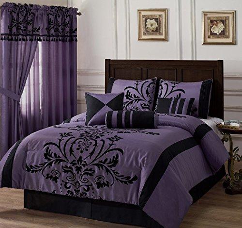 Chezmoi Collection 7-Piece Flocked Floral Faux Silk Comforter Set, California King, Violet/Black front-968670