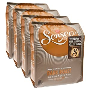 Senseo Dark Roast, New Design, Pack of 4, 4 x 36 Coffee Pods
