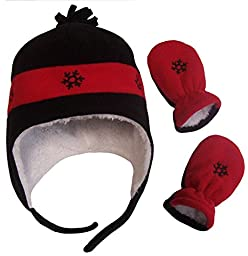 N\'Ice Caps Boys Snowflake Embroider Sherpa Lined Micro Fleece Hat and Mitten Set (3-6mos, Infant - Black/Red)
