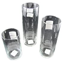 Biedermann & Sons Set of (3) Glass Floating Candle or Pillar Candle Holders