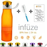 Real Zeal Fruit Infuser Water Bottle with Unique Fruit Chamber and Integrated Juicer, 24 oz., Orange