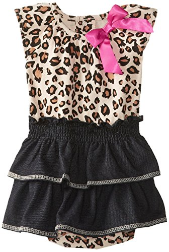 Bon Bebe Baby-Girls Newborn Knit Denim Skirted Bodysuit With Leopard Print, Multi, 0-3 Months front-979699