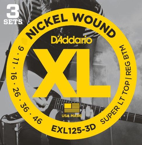D'Addario ダダリオ エレキギター弦 ニッケル 3setパック SuperLight Top/Regular Bottom .009-.046 EXL125-3D 【国内正規品】