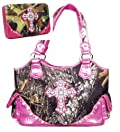 Western Large Canvas Pink Camouflage Cross Rhinestone Purse W Matching Wallet
