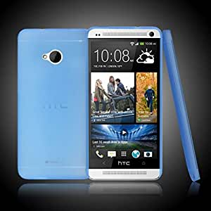 Blue Ultra Thin Slim 0.3mm Matte Soft Plastic Back Case Cover Skin for HTC ONE M7