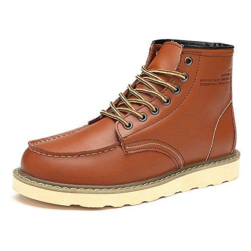 Rismart Uomo Stile di Strada Moda Piattaforma Caviglia Pelle Stivali Foderato di Pelliccia Disponibile Marrone SN0027 EU43