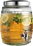 Clear Glass 2-gallon Barrel Beverage Dispenser with Spigot ~ Juice Holder Jug Party Centerpiece