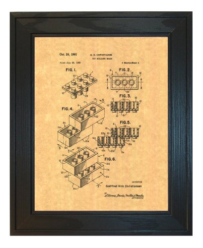 """Lego Toy Patent Art Print in a Solid Pine Wood Frame (8.5"""" x 11"""")"""