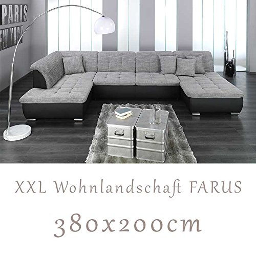 wohnlandschaft couchgarnitur xxl sofa u form schwarz. Black Bedroom Furniture Sets. Home Design Ideas