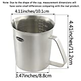 Measuring Cup, Newness Stainless Steel Measuring Cup with Marking with Handle, 24 Ounces (0.7 Liter, 3 Cup)