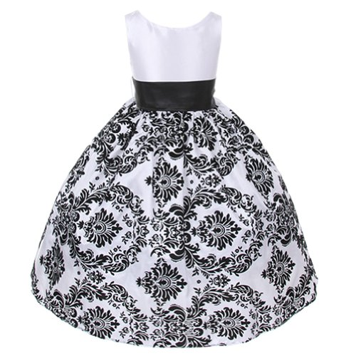 Kids Dream White Black Damask Special Occasion Dress Toddler Girl 2T front-924361
