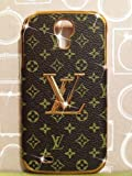 Yame Hot Selling Luxury Leather Back Hard Case Cover for Samsung Galaxy S4 I9500 with Gold Logo (No.1)