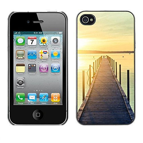 For Apple iPhone 4 / iPhone 4S / 4S Case , Jetty Dock Beach Sunset Lake - Colorful Pattern Hard Back Snap-On Cover Case Skin Mobile Phone Shell Bumper