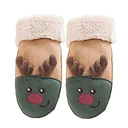 Mily Kids Gloves Coral-Velvet Lining Hand Wrist Glove Soft Winter Warm Gloves green and Brown