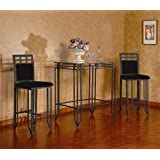 3 Pc Matrix Sandy Black Metal Bar Set , Table & 2 Stools