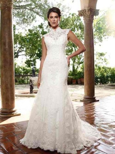 White Beaded Wedding Dress  Collar Neckline and