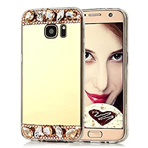 S7 Case,Galaxy S7 Case - Mavis's Diary® 3D Handmade Bling Luxury Mirror Soft TPU Design Shiny Gems Crystal Diamonds Rhinestone Clear Cover for Samsung Galaxy S7 (2016) from Mavis's Diary