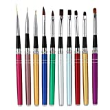 Anself 10Pcs Professional Nail Art Design Polish Brush Pen Liner Set for Acrylic UV Gel Drawing Painting
