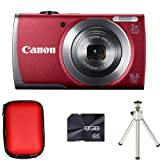 Canon PowerShot A3500 IS - Red + Case + 8GB Card + Tripod (16 MP, 28mm Wide Angle, 5x Optical Zoom) 3.0 inch LCD