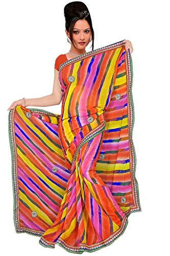 Kala Sanskruti Chiffon And Art Silk Bandhej Design Saree With Work - B00L18QZ8Q