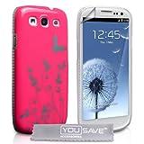 """Samsung Galaxy S3 Tasche Hei� Rosa Schmetterling Harte H�lle Mit Displayschutz Und Poliertuchvon """"Yousave Accessories�"""""""