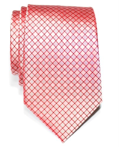 Premium Check Textured Woven Microfiber Men's Tie - Red