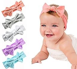 Onshine 5pcs Soft Baby Headbands Bow Headwrap Headdress Bowknot Hair Elastics Turban