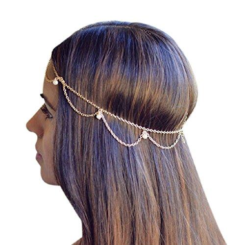 Sannysis Frauen Quasten Metal Head Kettenschmuckstück Haar-Band-Stirnband Kopf