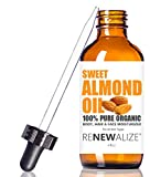 Organic SWEET ALMOND OIL by Renewalize in LARGE 4 OZ. DARK GLASS BOTTLE with Glass Eye Dropper | Highest Quality 100% Pure , Unrefined Cold Pressed Oil | Non-GMO | One of the Most Popular Oils Among Massage Therapists | Softens Dry Skin | An Excellent Car