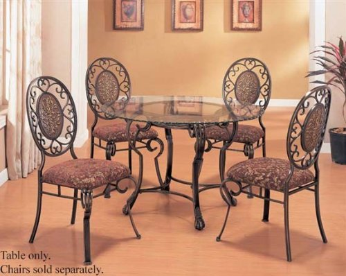 Cheap Dining Table with Glass Top Antique Brown Finish (VF_AM8035)
