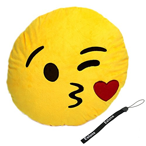 Best Deals! Estone® Soft Emoji Smiley Emoticon Yellow Round Cushion Pillow Stuffed Plush Toy Doll (...