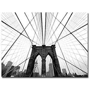 Trademark Fine Art NYC, Brooklyn Bridge by Nina Papiorek Canvas Wall Art, 24x32-Inch