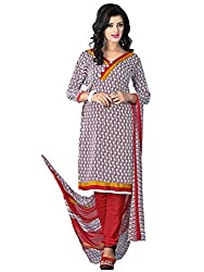 Fashion Queen Presents Light Brown & White Colored Unstitched Dress Material